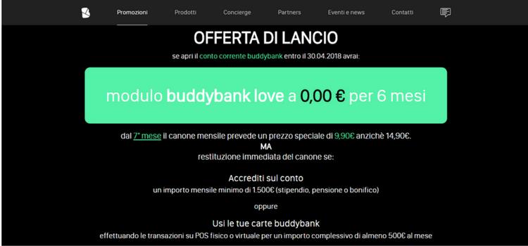 homepage buddybank offerta lancio