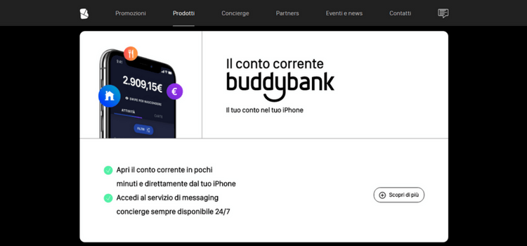 homepage conto corrente buddybank