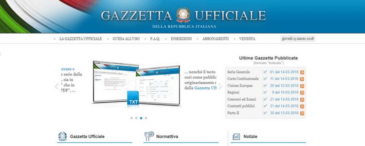 gazzetta ufficiale homepage