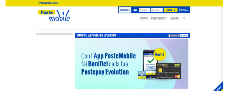postepay evolution bonifico