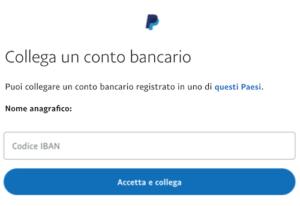 collegare conto bancario a paypal