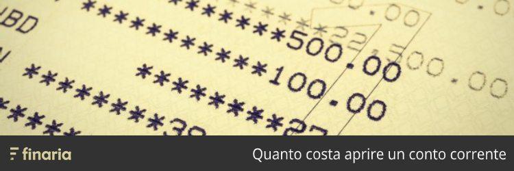 Quanto costa aprire un conto corrente