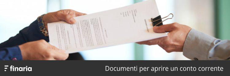 documenti per aprire un conto corrente