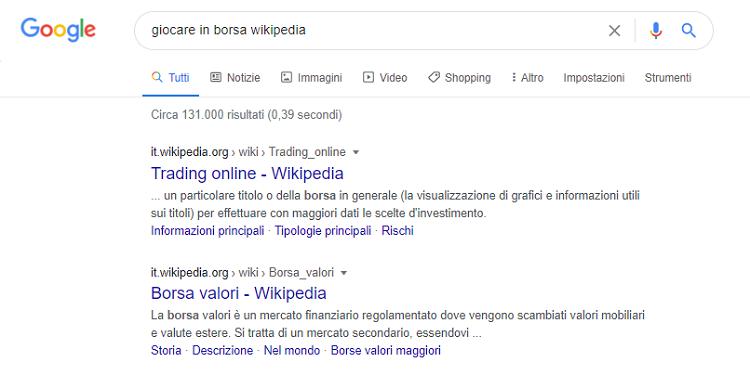 giocare in borsa wikipedia