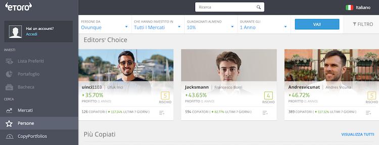chi sono i leader piattaforma social trading
