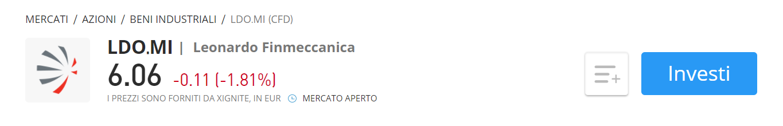 eToro CFD Leonardo Finmeccanica