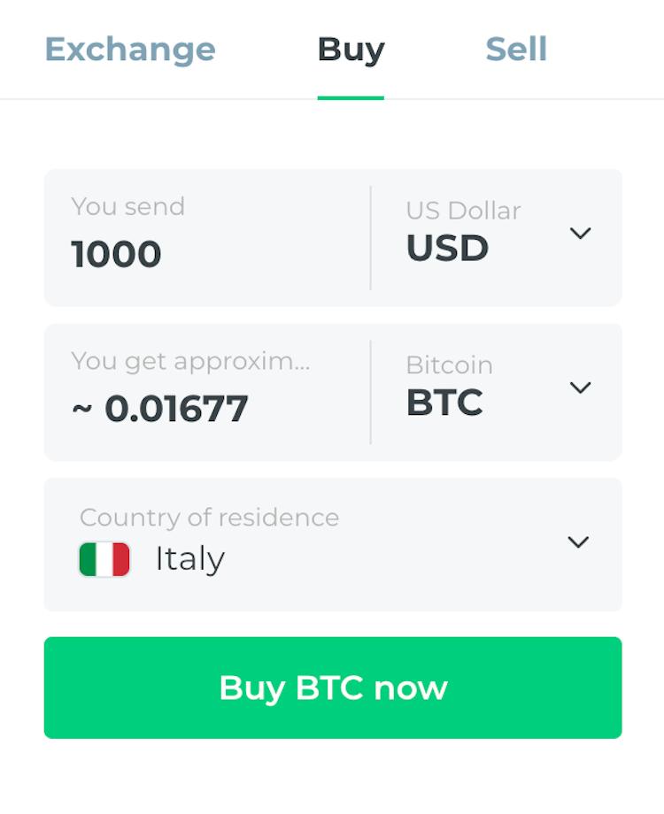 changelly costi bitcoin