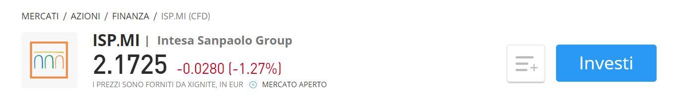 eToro CFD Intesa Sanpaolo