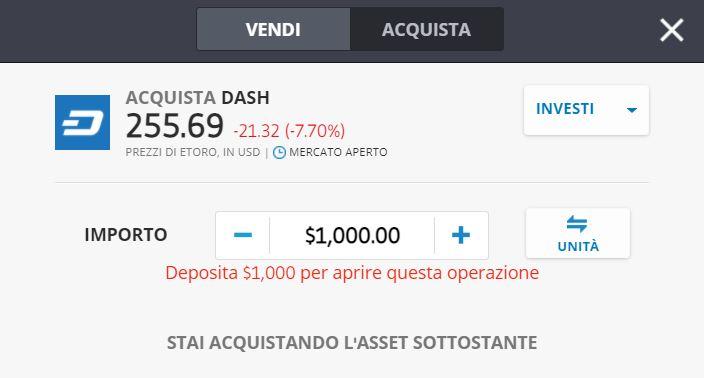 Comprare Dash eToro