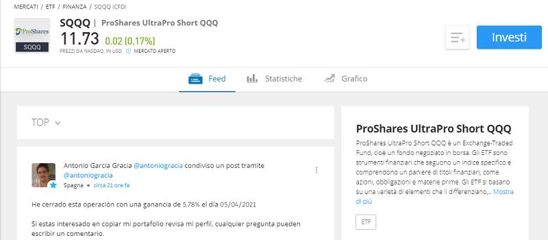Proshares UltraPro Short QQQ etf eToro