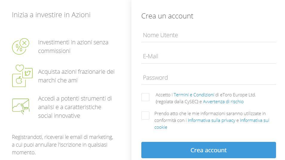 eToro registrazione guadagnare 20€ subito trading online