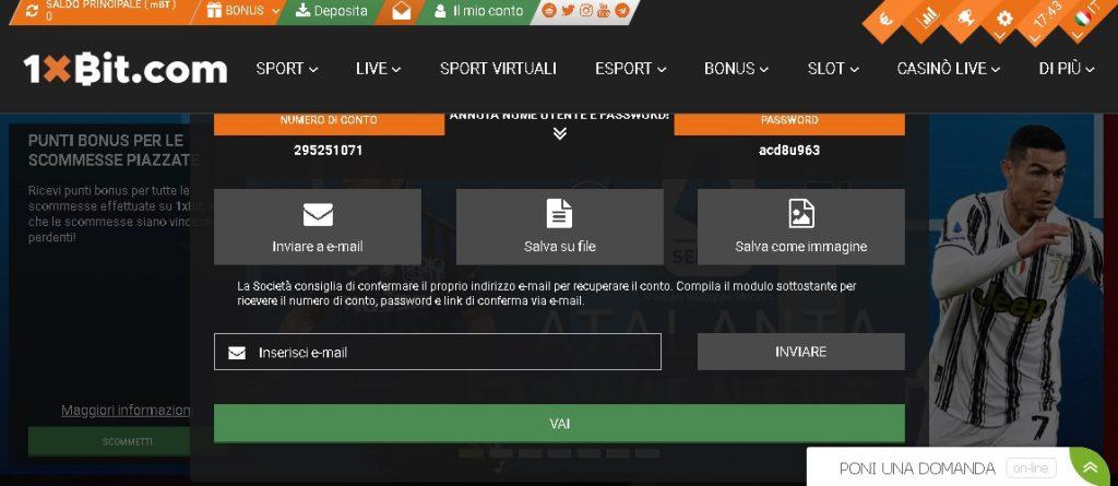 1xbit registrazione sito di scommesse bitcoin
