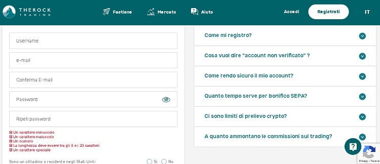 Therocktrading compila il form