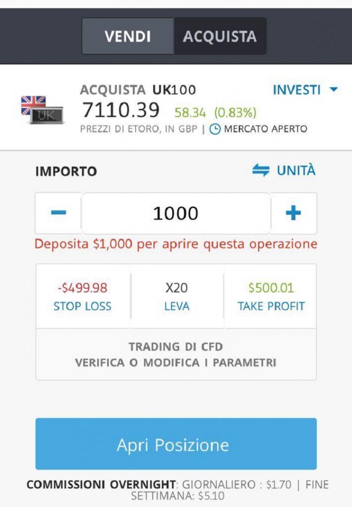 etoro investire sull'Indice FTSE 100