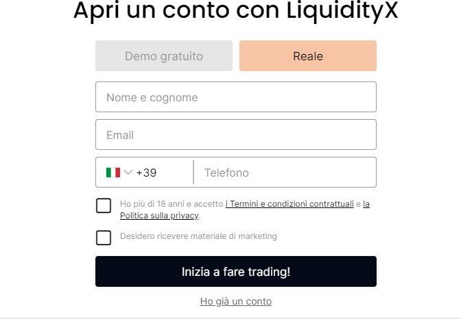 LiquidityX registrazione