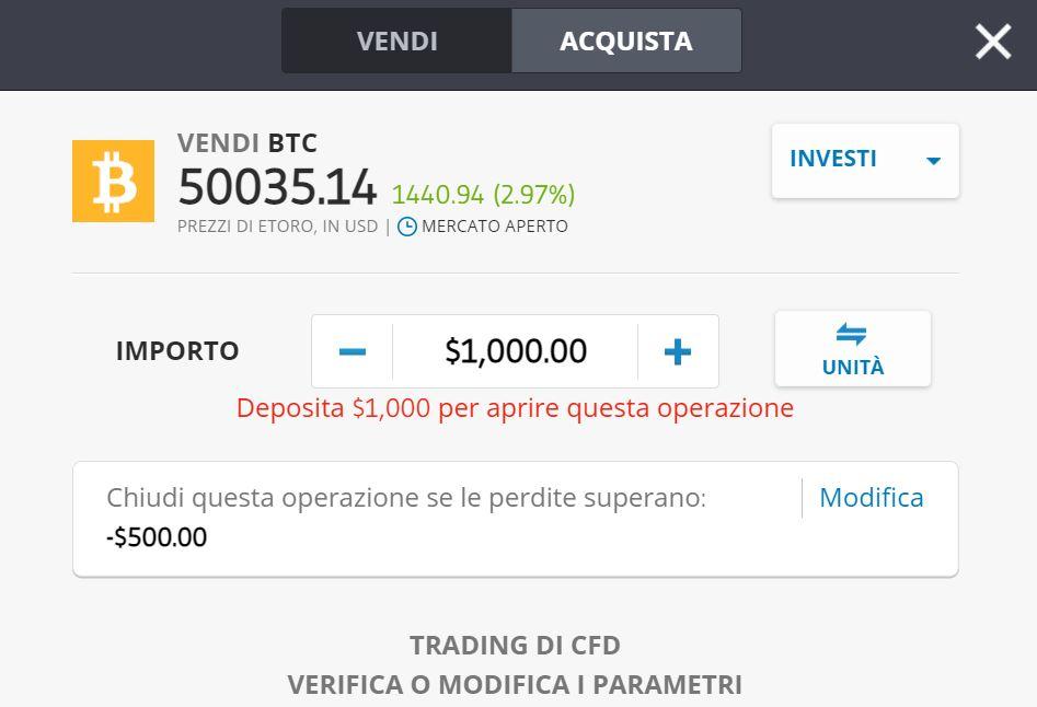 eToro CFD vendere Bitcoin